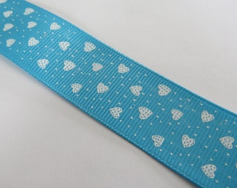 Pretty pale blue ribbon with hearts pattern