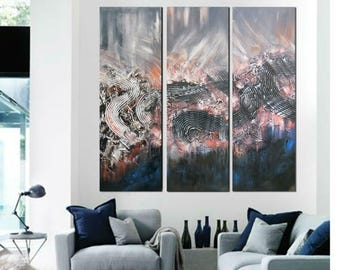 ON SALE Abstract triptych painting set large  original modern abstract art one of a kind artwork modern wall decor free shipping black gray