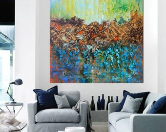 ON SALE Abstract modern  painting art original artwork one of a kind artwork wall art decor deep canvas Ready to hang free shipping blue gre