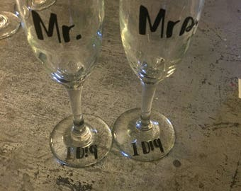 Mr and Mrs Champagne Flutes