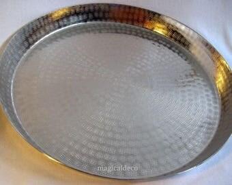Round tray 57 cm-Rice grain, nickel plated 1800 g