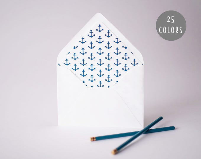 anchors lined envelopes (25 color options)  //  nautical envelope liners lined envelopes wedding shower party invitation invite