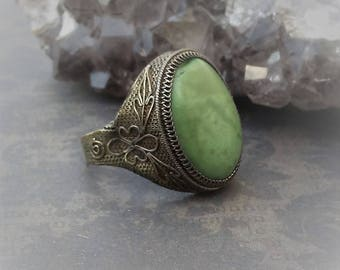 Vintage Ring-Adjustable Ring-Green Stone Ring-Etched Ring-Silver Ring-Victorian Ring-Really Old Ring
