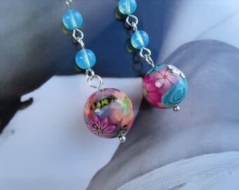 SUMMER bee EARRINGS flower polymer clay artist beads Bohemian glass of beads