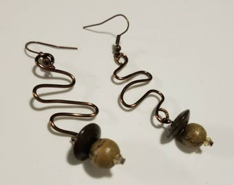 Bronze Earth Tone Wire Design Earrings, Wire Earrings, Natural Tones, Earthy Earrings, Bronze Wire, Bronze Earrings, Bronze Jewelry