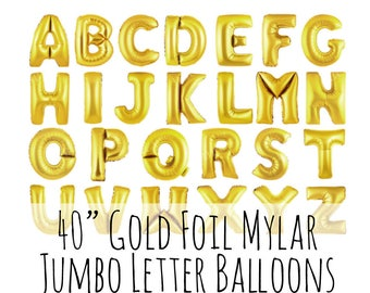 "40"" Gold Letter Balloons, 40 Inch Shiny Foil Mylar Balloons, Custom Name, Pick Your Letters, Party Decorations, Celebration, Name Balloons"