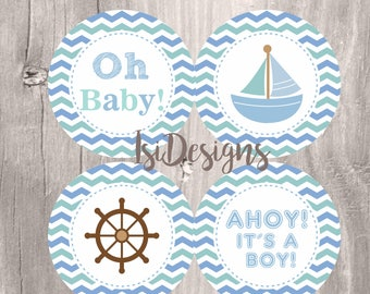Nautical Baby Shower Printable Centerpieces, Blue and Green Nautical Baby Boy Centerpieces, Instant Download, Baby Shower Decoration