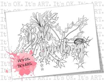 Bah Humbug - Adult Coloring SHEET - Christmas Coloring Page, Printable Coloring Page, Swear Word Colouring, Holiday Coloring