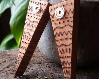 Handmade, handcut, mahogany, wood, geometric, pyrographed, earrings, tribal, wooden jewellery,