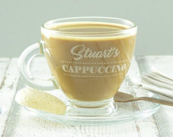 Personalised Cappuccino Cup And Saucer