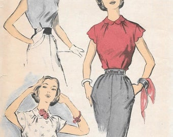 Vintage 1950s Advance Sewing Pattern 5730 - Misses' Blouse size 16 bust 34
