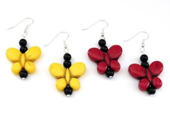 Stone Butterfly Earrings in Either Yellow or Red, with Black Accent Beads