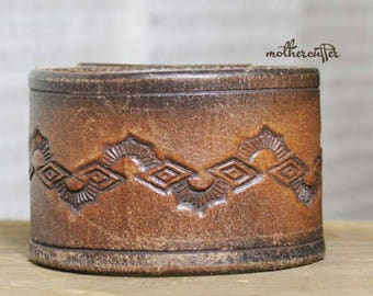 CUSTOM HANDSTAMPED wide brown distressed leather cuff with design by mothercuffer