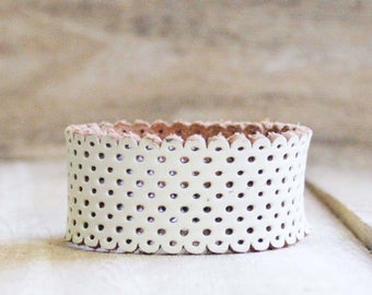 CUSTOM HANDSTAMPED narrow white leather cuff with scallop design by mothercuffer