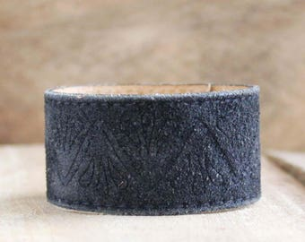 CUSTOM HANDSTAMPED black suede leather cuff by mothercuffer