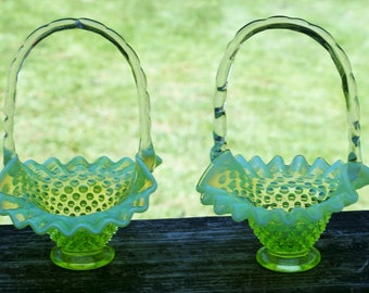 Vintage Fenton Art Glass Hobnail  Baskets with Ruffled Rim/Vaseline Glass