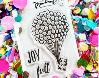 Joy FULL Panda Mini Stamps Christian Scrapbooking Stamping Bible Journaling Balloons Panda Joyful Worship heart Growing Meadows Tai Bender