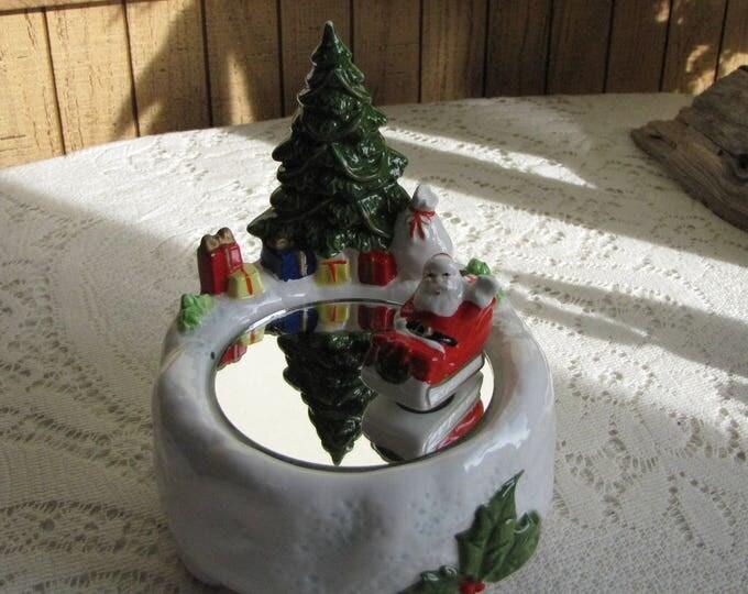 Otagiri Santa's Skating Rink Music Box Vintage Christmas Decorations Plays Jingle Bells