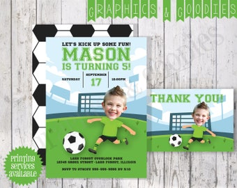 Soccer Birthday Party Invitation w/ Thank You Note & Double-Sided Design