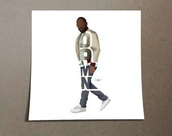 "Kendrick Lamar Poster Typography Design of Rapper 2017 Album named, ""DAMN."" K-Dot Rapper Home Wall Decor From Compton, California"