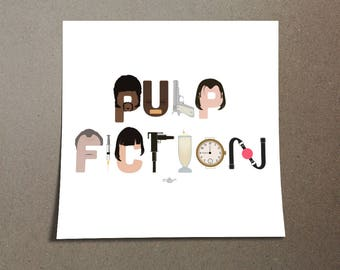 """Pulp Fiction Poster Typography Design of icons, a pop culture iconic film directed by Quentin Tarantino in LA, to spell """"Pulp Fiction"""""""