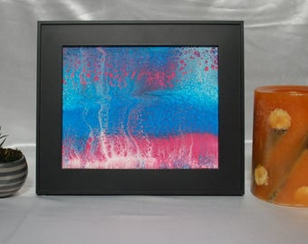 "Abstract Fluid Art with Frame - ""Collision"" ~ 8 in x 10in ~ Original"