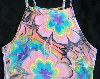 Pastel Flowers Marbled Psychedelic Halter Crop Top Size X-Small