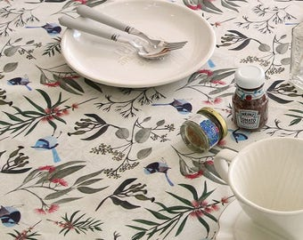 Blue Bird and Floral Linen Blended Fabric by Yard - Illustration Design Fabric