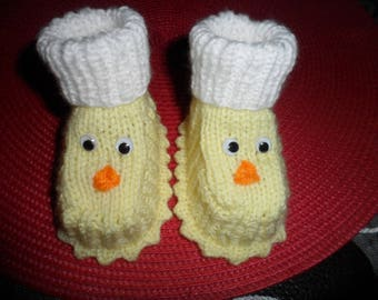 "Booties baby or reborn ""Chicks"" woolen (0-3 months)"