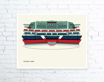 Fenway Park, Boston Red Sox, Baseball, Green Monster, Stadium, Print, Man Cave, Art, Christmas gift, Gift for men,