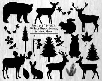 Woodland Silhouettes Clipart Forest Animal Silhouette Clip Art Graphics Flowers Leaves Plants Animals Woodland Animal Scrapbook Silhouettes