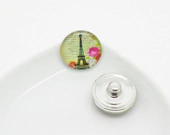 snap chunk cabochon Eiffel Tower multicolor
