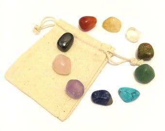 Chakra kit bag set of 10 tumbled stones small Stones