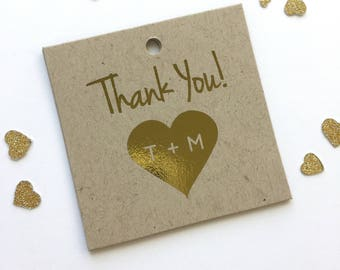 Wedding Favor Tags, Gold Foil Thank You Initials in Heart, Kraft Custom Wedding Tags, Custom Wedding Hang Tags  (SQ-103-FKR)