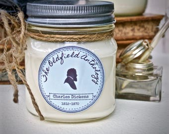 Charles Dickens Candle | Soy, Mason Jar, Hand Poured, Literary Inspired | Oldfield Anthology