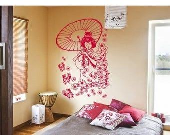 20% OFF Summer Sale Flora Geisha wall decal, sticker, mural, vinyl wall art