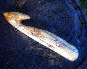 Giant spalted Sycamore wood crochet hook by Furnival's Workshop