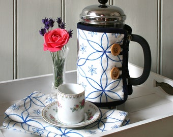 Blue Geometric Daisy Patterned Cafetiere Cosy