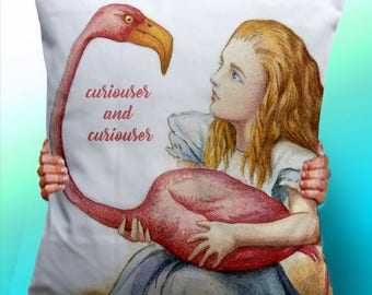 Alice In Wonderland Vintage curiouser and curiouser  - Cushion / Pillow Cover / Panel / Fabric