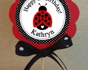 "PERSONALIZED LADYBUG Centerpiece DIY Project 5"" Center Circle Birthday or Baby Shower Printable file"