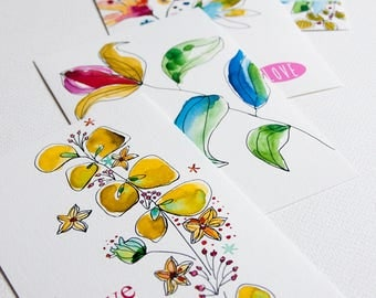 """Set of 5 cards Valentine's day watercolor floral """"Love"""" printed on paper fine art"""