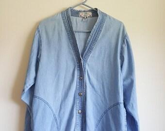 Lightwash Blue Jean Button Up Blazer