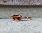 Antique 1926 Art Deco Citrine Bezel Ring in 9k Rose Gold   Vintage Engagement Ring Alternative or Stacking Ring