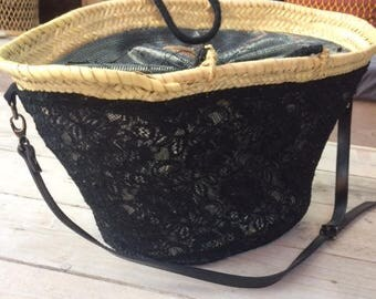 Basket Wicker Beach basket - basket of city - lace chic tote bag