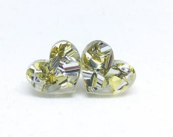 Mini heart glitter studs - gold and silver glitter!