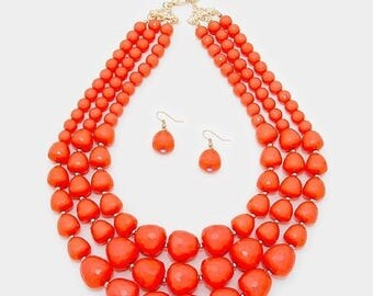 Coral peach Necklace, multi strands, three strands, statement beaded necklace, handmade gift idea, gift for her.