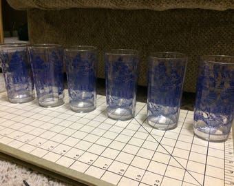 Federal Glass 'stitched border' Blue Willow 12oz tumbler