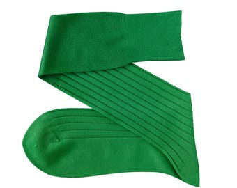 Green Men Over The Calf New Ribbed 100% Cotton Lisle Casual Dress Solid Socks