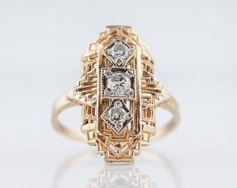 Antique Right Hand Ring Art Deco .22 Round Brilliant & Single Cut Diamonds in 14k Yellow Gold
