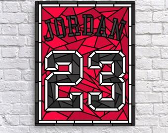 Michael Jordan, Jordan Jersey, Bulls Basketball, Throwback Jersey, Stained Glass Canvas Wall Art